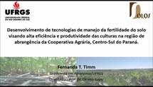 Desenvolvimento de tecnologias de manejo da fertilidade do solo visando alta eficiência e produtividade das culturas na região de abrangência da Cooperativa Agrária, Centro-Sul do Paraná