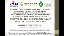 Estudo fase II, randomizado, sobre o emprego de células-tronco mesenquimais como tratamento de primeira linha para a doença do enxerto contra o hospedeiro aguda resistente aos esteróides